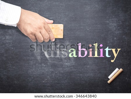 Businessman hand erased alphabet d, i, s from a chalkboard for changing to ABILITY. The word DISABILITY erased from a chalkboard. Concept of International Day of Persons with Disabilities, Can, Trust. - stock photo