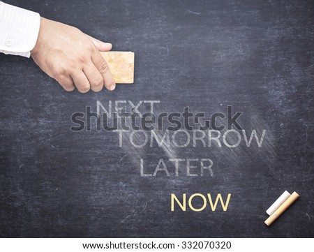 Businessman hand erased the word NEXT, TOMORROW, LATER from a chalkboard for changing to NOW. Change concept. Do it Now - Business Concept. - stock photo