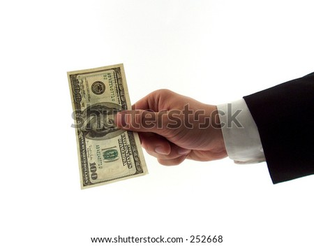 businessman hand giving hundred dollars