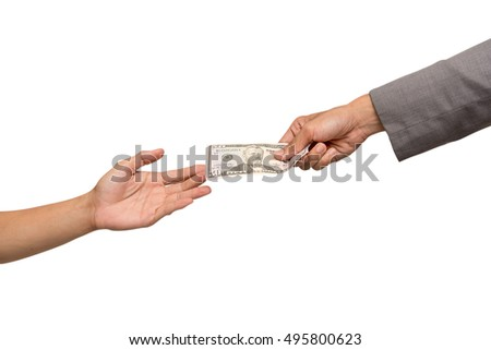 Businessman hand giving money isolated on white background with clipping path.