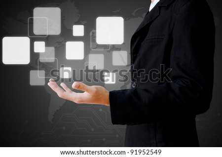 businessman hand holding a buttons - stock photo
