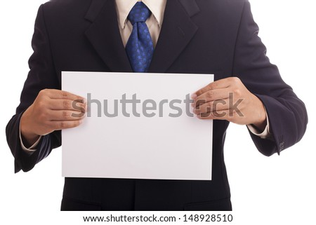 Businessman hand holding a white paper.