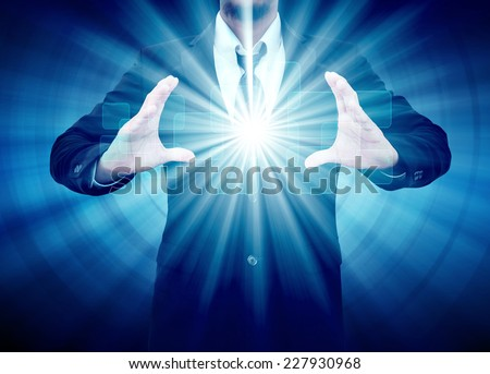 Businessman hand holding button touch screen interface - stock photo