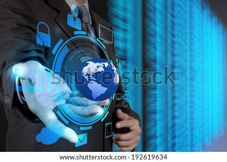 businessman hand holding cloud network icon on touch screen computer as Internet security online business concept
