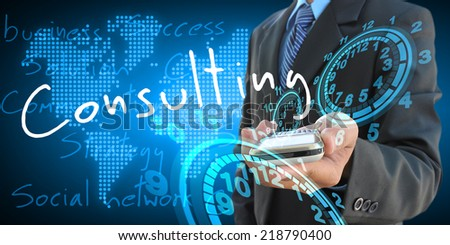 businessman hand holding consulting - stock photo