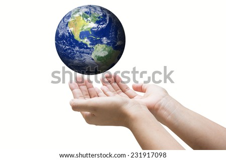 """Businessman hand holding globe with Earth in the background """"Elements of this image furnished by NASA"""".  - stock photo"""