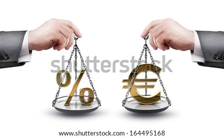businessman hand holding Scale with procent symbols and symbols of currencies Euro  isolated on white background High resolution 3d  - stock photo