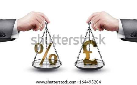 businessman hand holding Scale with procent symbols and symbols of currencies pound isolated on white background High resolution 3d  - stock photo