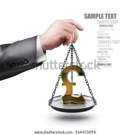 businessman hand holding Scale with symbols of currencies pound isolated on white background High resolution  - stock photo