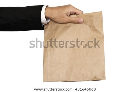 Businessman hand holding(Sharing,giving) brown paper bag lunch, isolated on white background - stock photo