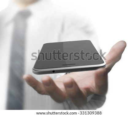 Businessman hand holding smart phone with black touchscreen - stock photo