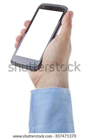 Businessman hand holding smartphone with blank screen isolated