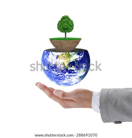 Businessman hand holding trees on the lawn. Natural concept. Elements of this image furnished by NASA. - stock photo