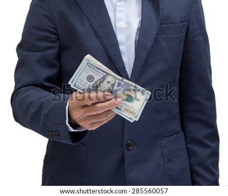 Businessman hand holding us dollar banknote isolated on white background