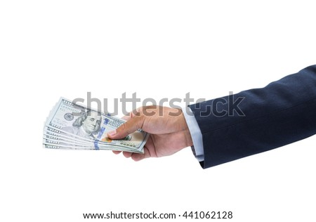 Businessman hand holding US dollar, USD. bills