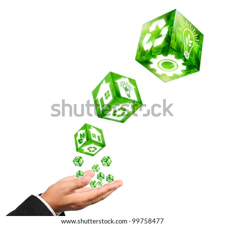 Businessman hand holding with building sign image and green industrial sign image concept on white.