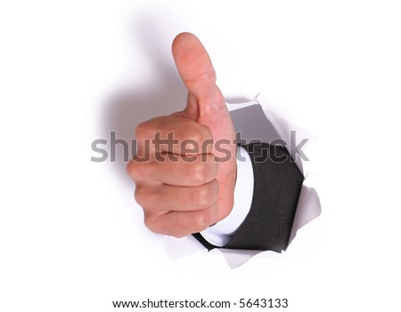businessman hand OK in the white paper hole. with shadow