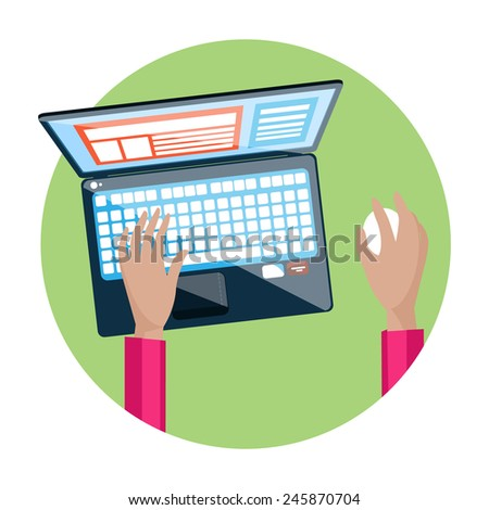 Businessman hand on laptop keyboard with screen monitor in flat design. Raster version - stock photo