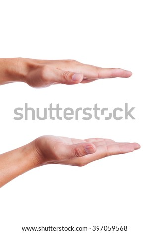 Businessman hand on white background.