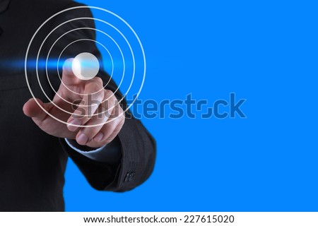 businessman hand pointing at target symbol as business concept  - stock photo