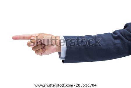 Businessman hand pointing isolated on white background with clipping path