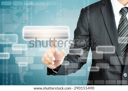 Businessman hand pointing on empty virtual screen - modern business background