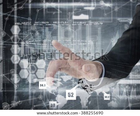 Businessman hand pointing something against hologram background