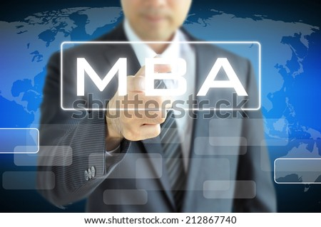 Businessman hand pointing to MBA sign on virtual screen - education & business abstract