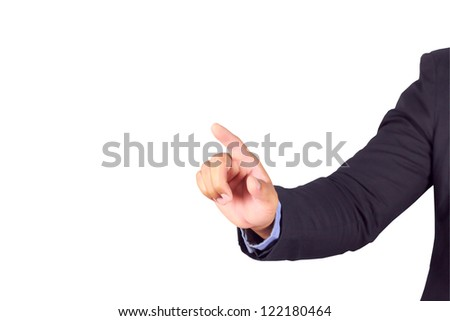 Businessman hand pointing with clipping path