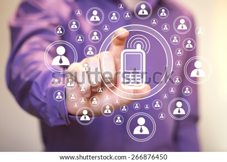 Businessman hand press icon telephone button sign - stock photo