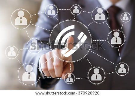 Businessman hand press online telephone button sign - stock photo