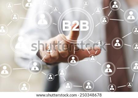 Businessman hand press online web b2b icon button - stock photo