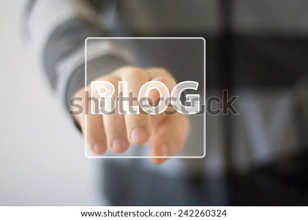 Businessman hand press web blog icon button - stock photo