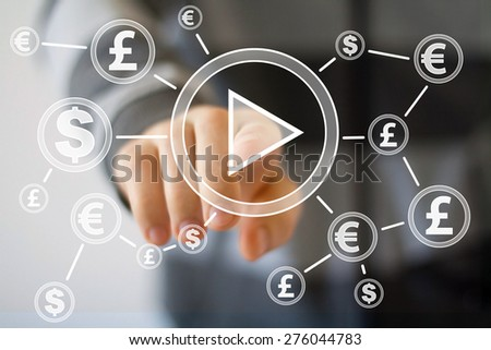 Businessman hand press web play button icon dollar eur currency