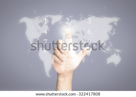 Businessman hand presses button on blurred world map with futuristic communication interface. Click Start Contact Us Internet Technology Selecting Choosing Pointing Invest Happy New Year 2016 concept. - stock photo