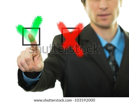 Businessman hand pressing buttons Yes/No - stock photo