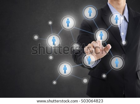 Businessman hand pressing icon on networking system concept technology people social network communication.