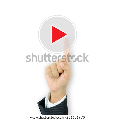 Businessman hand pressing play button on virtual screen