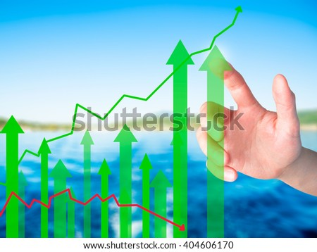 Businessman hand pressing Sales Growth Graph on virtual screen. Isolated on background. Sales concept. Stock Image