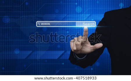 Businessman hand pressing search www button on digital world map technology style, Elements of this image furnished by NASA