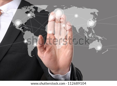 businessman hand push a social network icon - stock photo