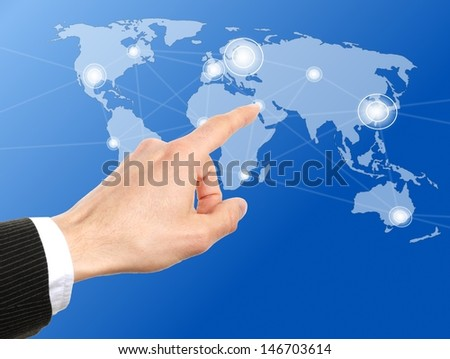 businessman hand push a social network icon