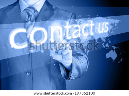 businessman hand pushing contact us button - stock photo