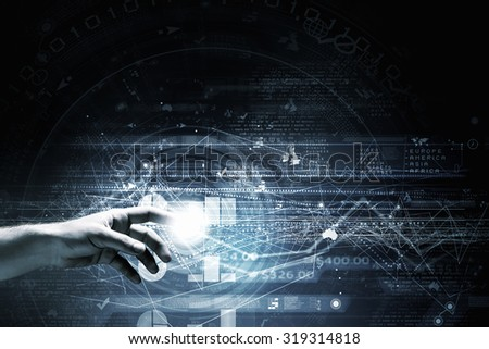 Businessman hand pushing icon on touch screen interface - stock photo