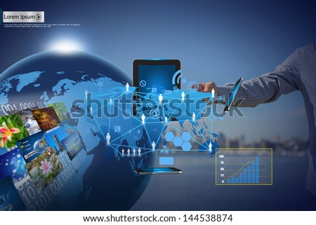 Businessman hand pushing social network with business - stock photo