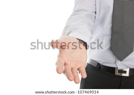 Businessman hand reaching to help or collect isolated on a white background - stock photo