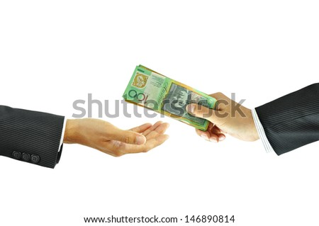 Businessman hand sending money