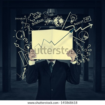 businessman hand show black cover book of success business as vintage style concept - stock photo
