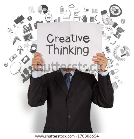 businessman hand show creative thinking cover book of business strategy background as concept - stock photo