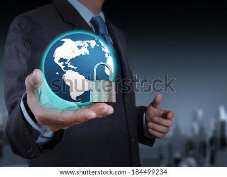 businessman hand show 3d world  with padlock as Internet security online business concept